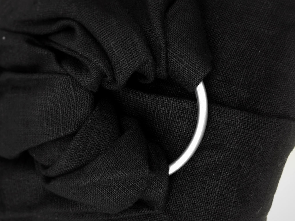 HappyFluffy Black Luxury Linen RingSling - Gathered