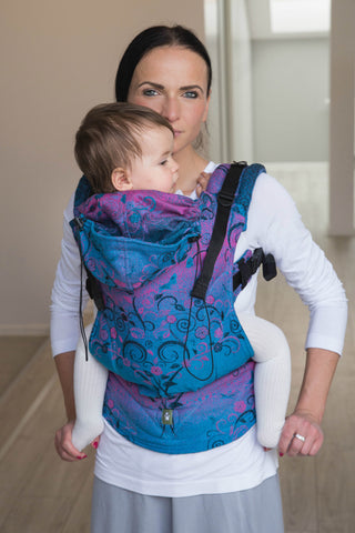 LennyLamb Ergonomic Carrier, Baby Size, DREAM TREE BLUE & PINK, Second Generation