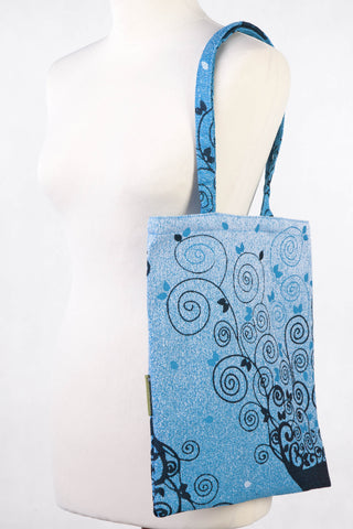 LennyLamb Shopping bag made of wrap fabric (100% cotton) - BLUE PRINCESSA - standard size 33cmx39cm
