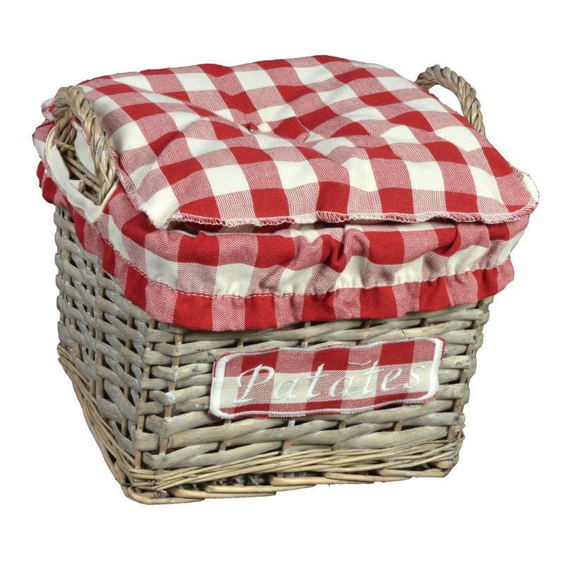 "Panier Carre Gm ""Patates"" 24X24 H16 Coll. Campagne Rouge"