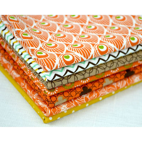 "Lot 7 Coupons 50X50 ""Popeline"" Coloris Orange 100% Coton"