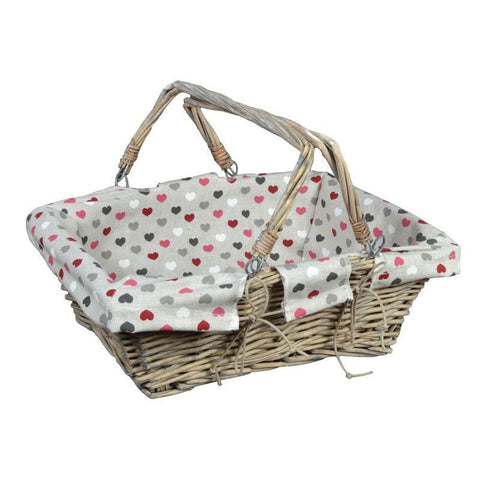 Panier 2 Anses Mobiles 38X28 H13 Coll. Valentine Coeurs