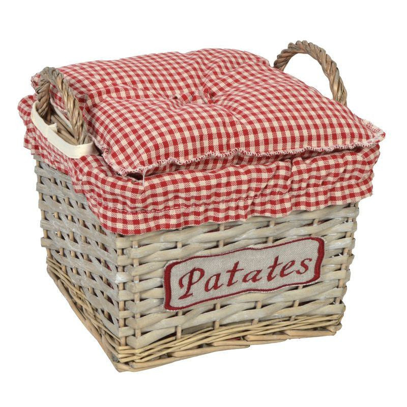 "Panier Carre Gm ""Patates"" 24X24 H16 Coll. Vichy Rouge"