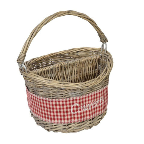 "Panier 2 Compartiments ""Couverts"" D15 H24 Coll. Vichy Rouge"