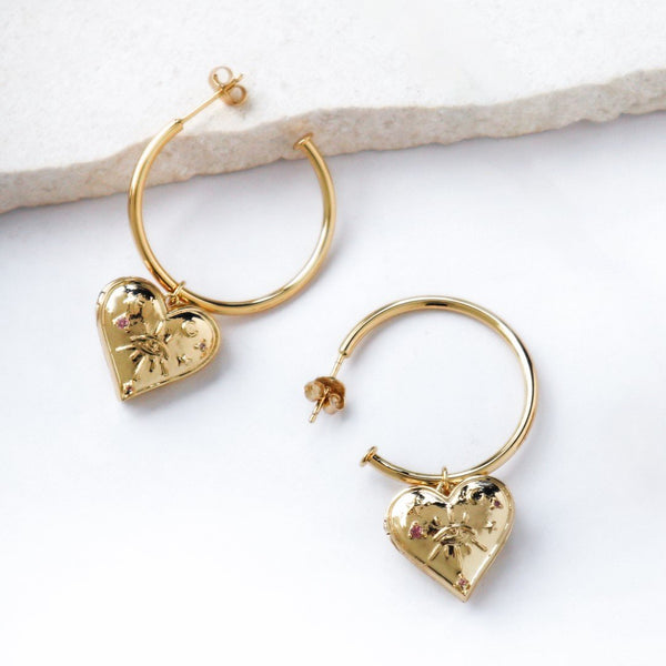 Wanderlust & Co Harlow Gold Locket Hoop Earring