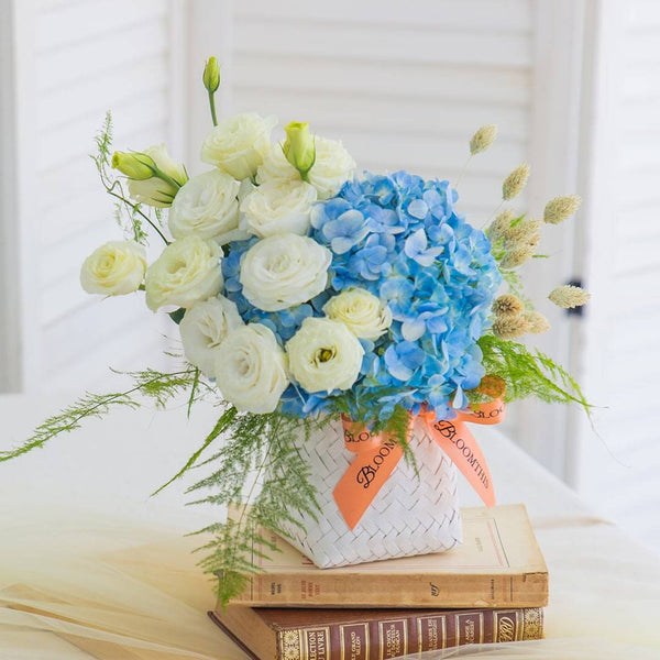 Bridget Blue Hydrangea Flower Basket