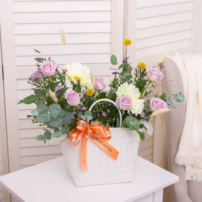 Edith Gerbera & Rose Flower Basket (MD)