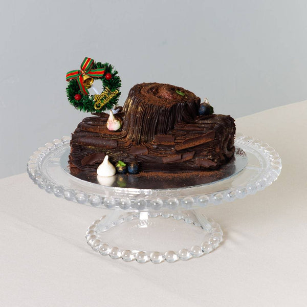Dark Chocolate Raspberry Yule Log Christmas Cake