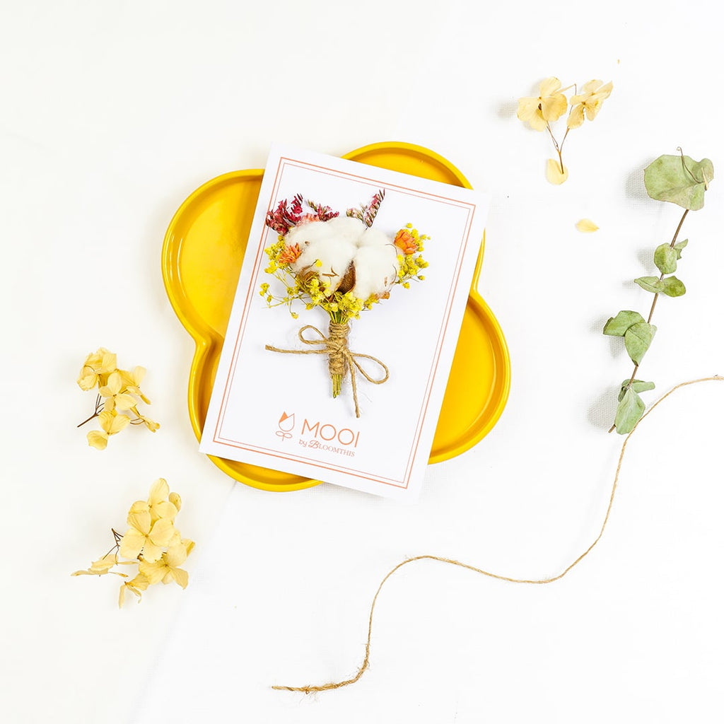 Dried Cotton Flower Designer Card