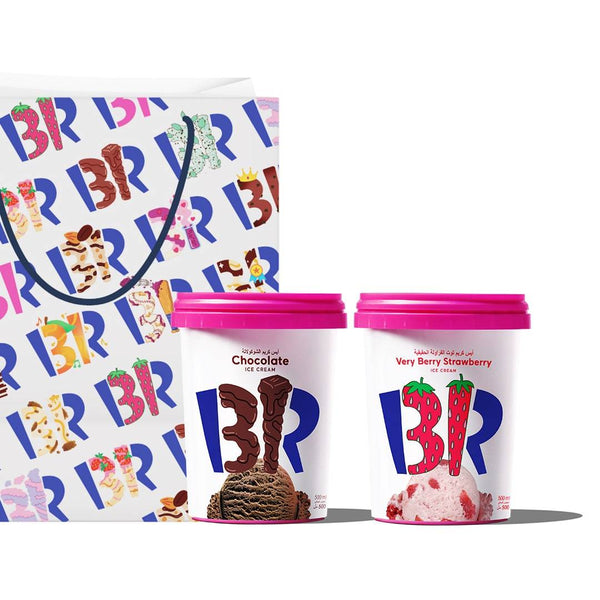 Baskin-Robbins Chocolate & Very Berry Strawberry Ice Cream (2 Pints)