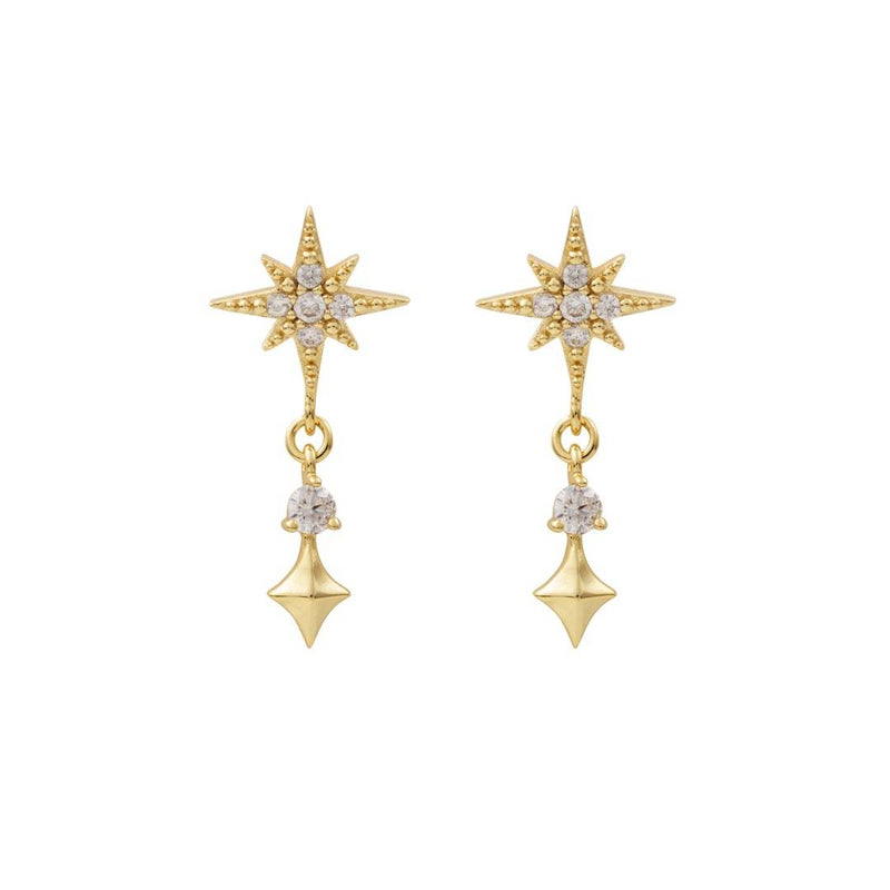 Wanderlust + Co Midnight Stud Gold Earrings