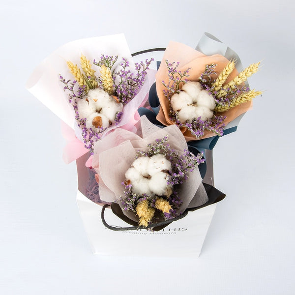 Luna Cotton Flower Mini Bouquet