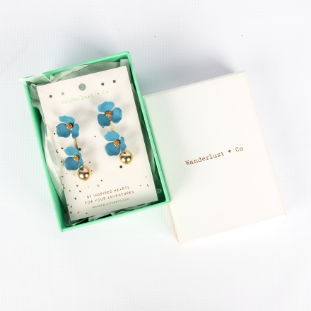 Wanderlust + Co Isla Drop Blue Earrings