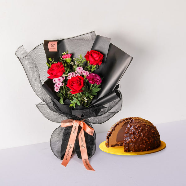 Inside Scoop Cake & Bouquet Set