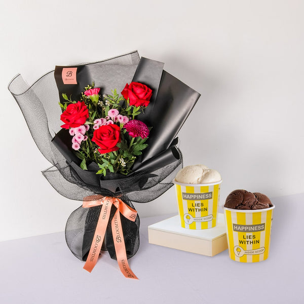 Inside Scoop Ice Cream & Bouquet Set