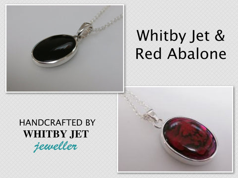 Whitby jet jewellery pendants whitby jet jeweller whitby jet double sided pendant with red abalone shell aloadofball Image collections