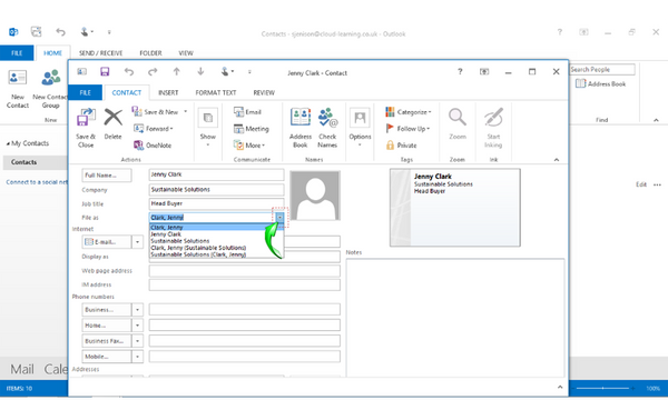 Office 2013 Outlook Beginners: Adding Contacts