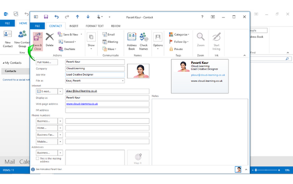 Office 2013 Outlook Beginners: The Contact List