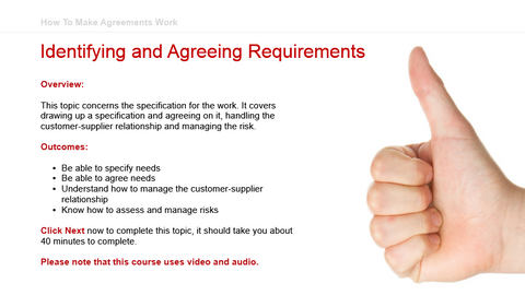How To Make Agreements Work: Identifying and Agreeing Requirements