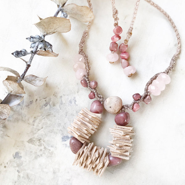 Crystal energy necklace with Rhodonite, Rose Quartz & Gobi Agate