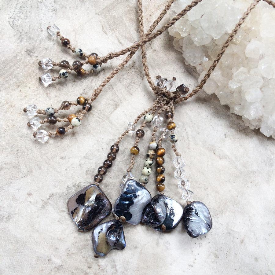 Abalone Shell talisman necklace with Smokey Quartz, Tiger Eye & clear Quartz