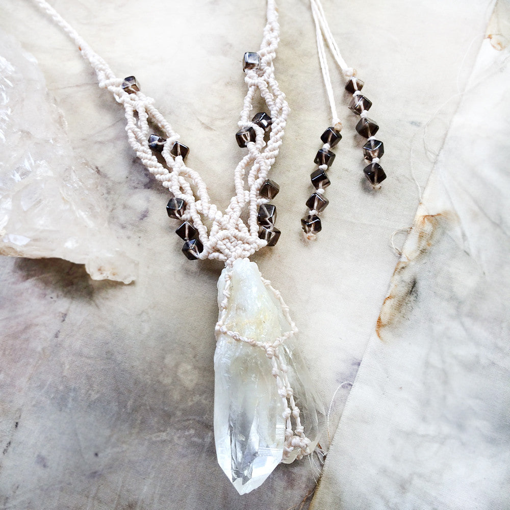Crystal amulet with 'Golden Healer' multi-point Quartz