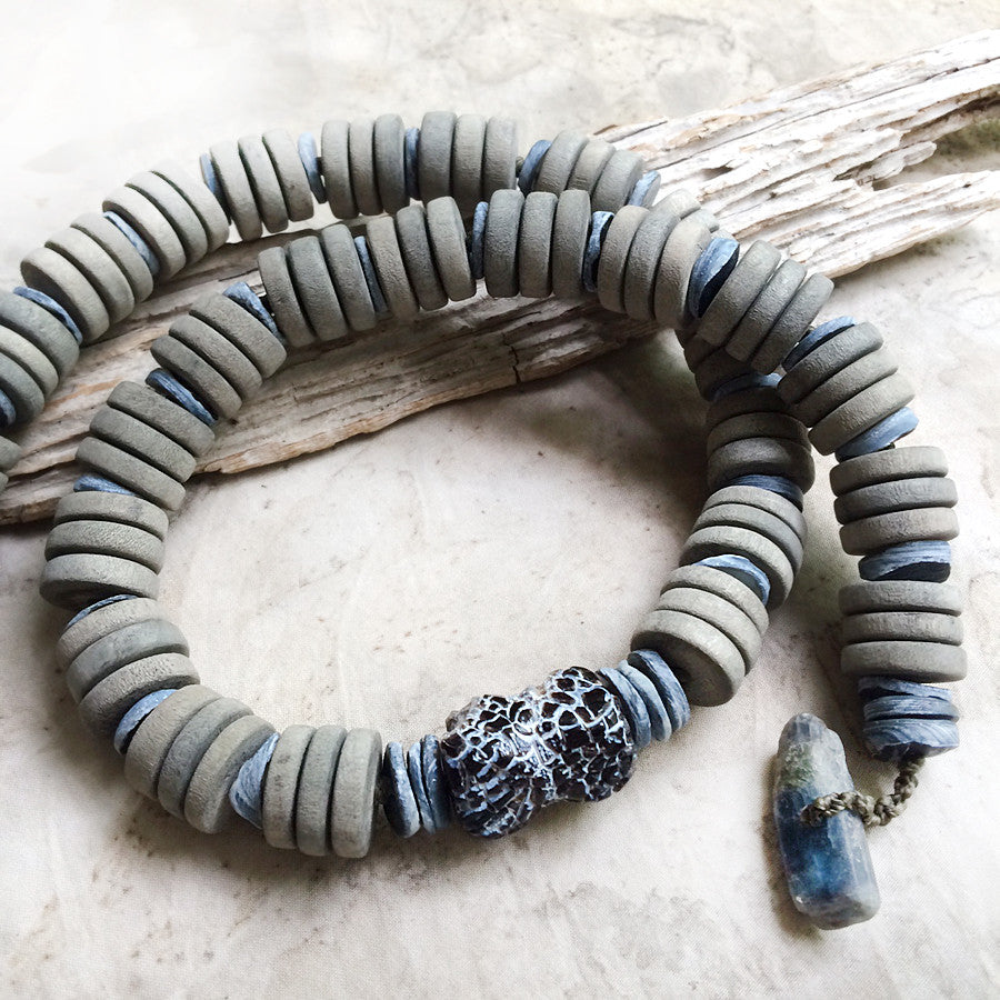 Stone talisman for men ~ with weathered Agate & blue Kyanite