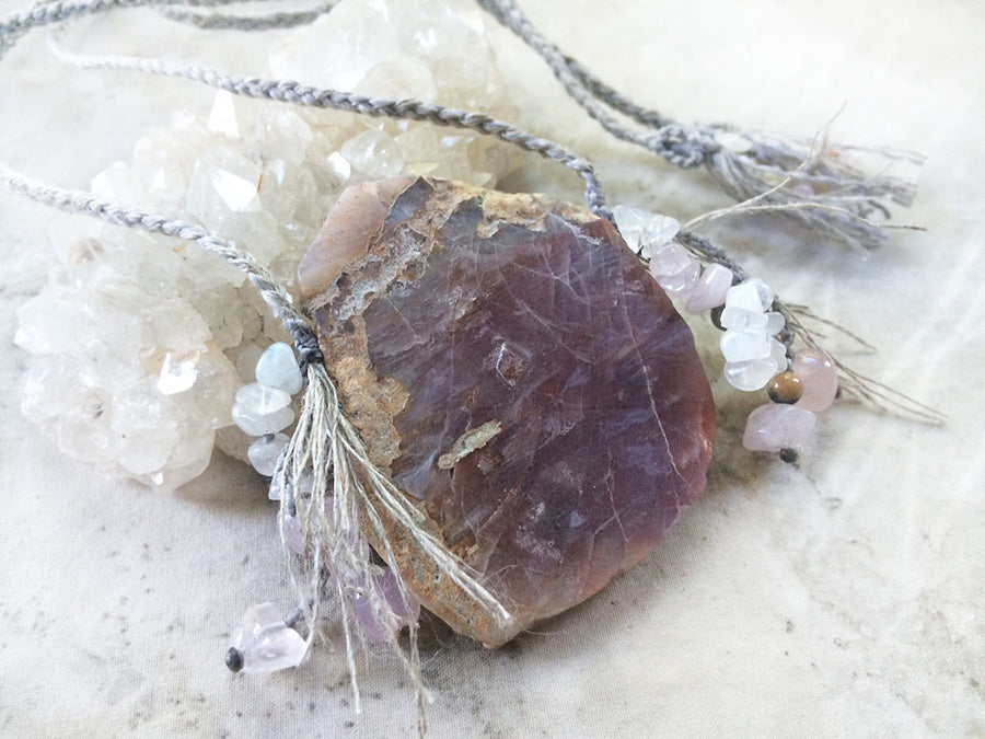 'Secret Gate' ~ Agate talisman with Rainbow Moonstone & Rose Quartz