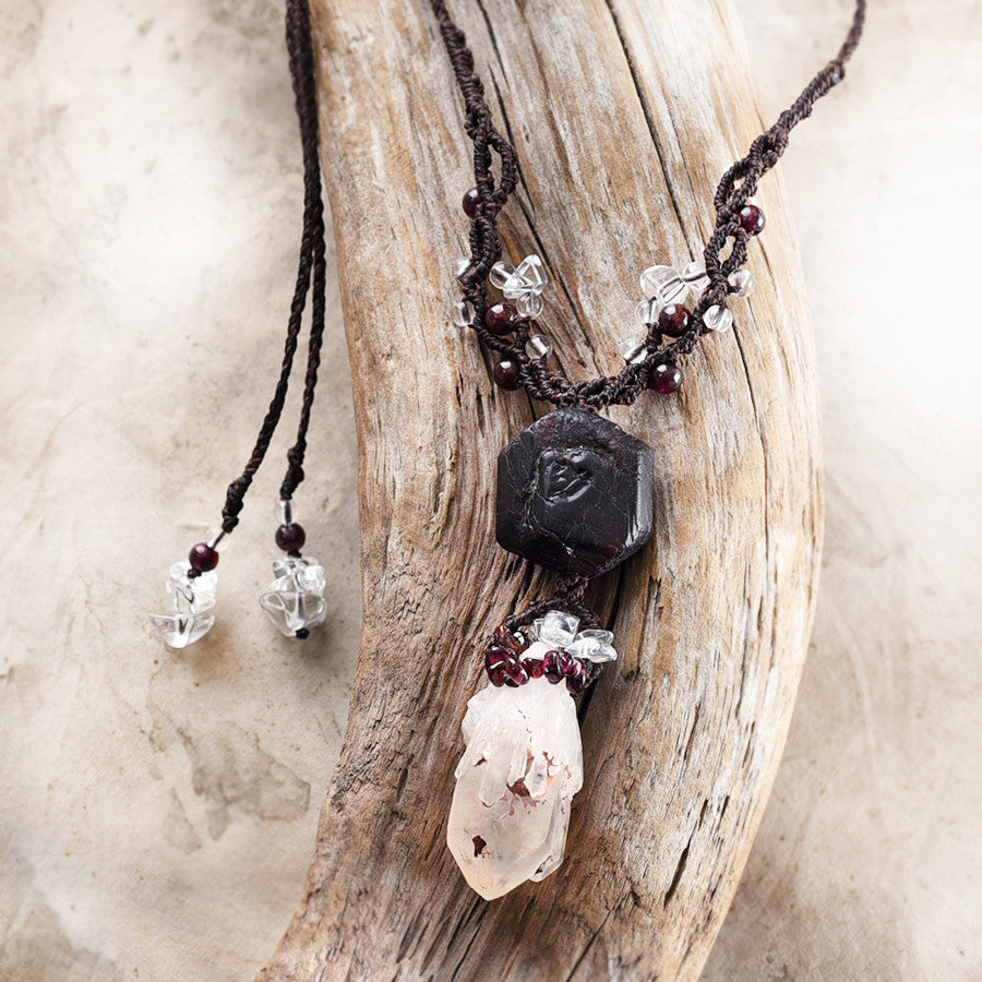 Crystal healing amulet with Hollandite Star Quartz & Almandine Garnet