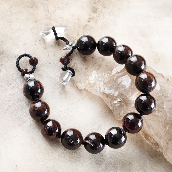 "Crystal healing bracelet with Almandine Garnet ~ for up to 6.5"" wrist"
