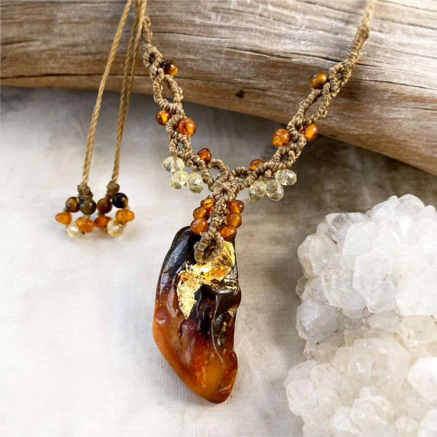 Amber energy healing amulet with 24ct gold