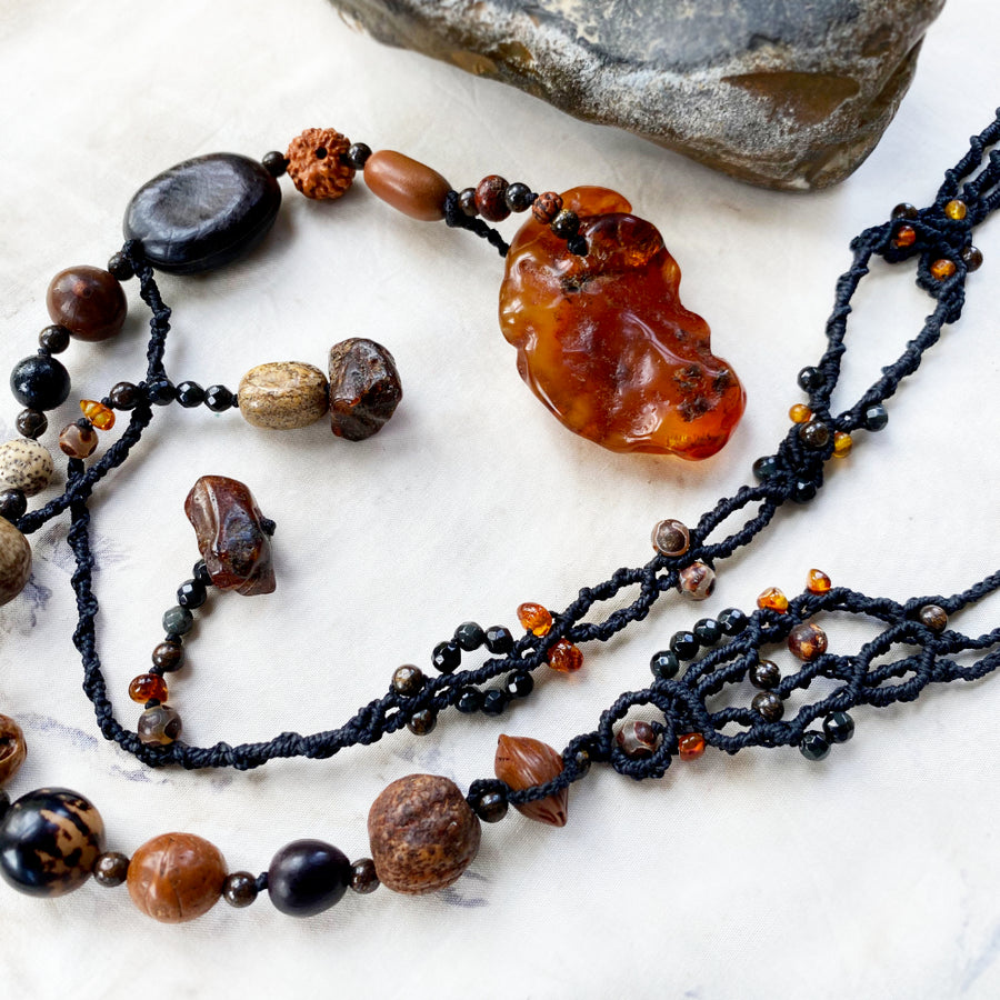 'Phoenix of the Soul' ~ crystal healing lariat with Amber