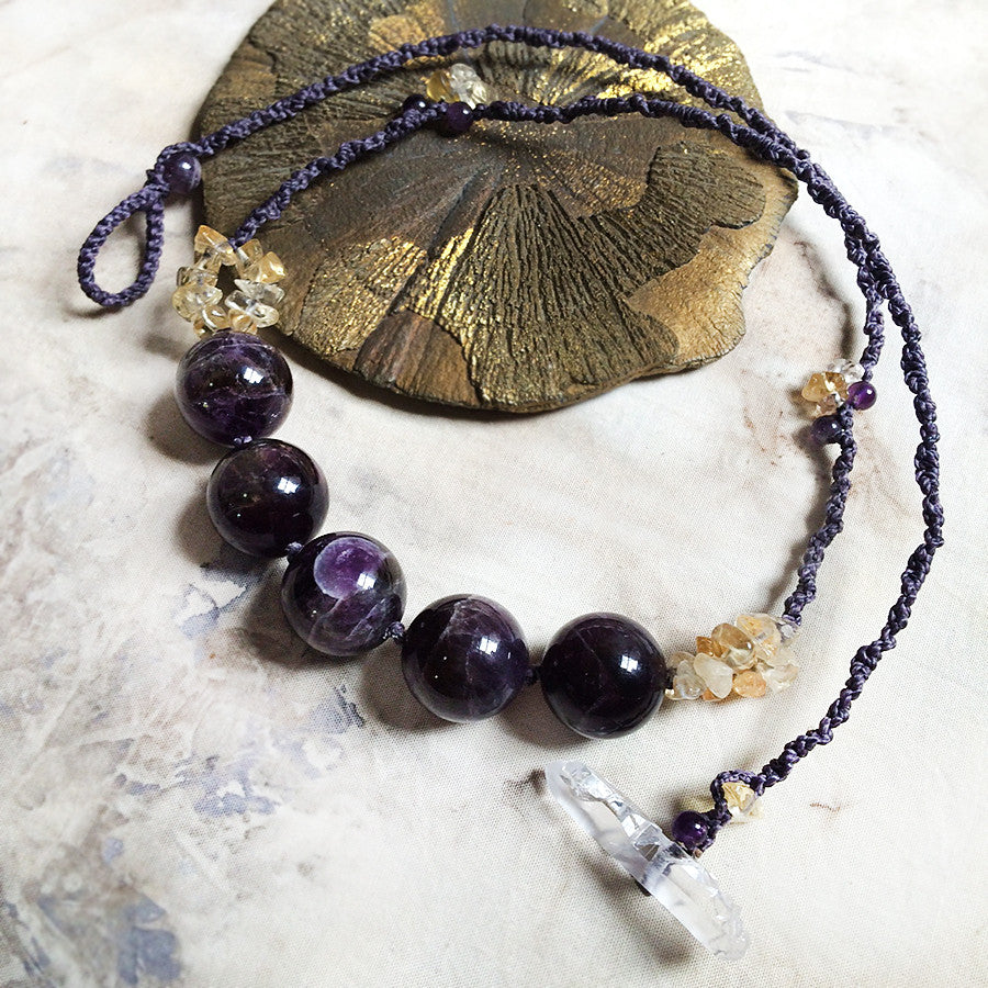 Amethyst crystal healing necklace