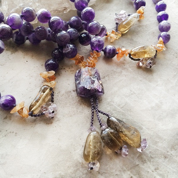 Chevron Amethyst mala with Citrine