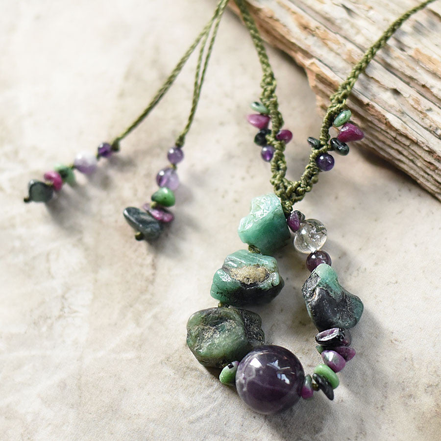 Crystal healing jewellery with Amethyst, Emerald, Ruby in Zoisite & Lodolite