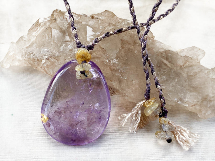 'Crystal Kintsugi' wounded healer Amethyst necklace