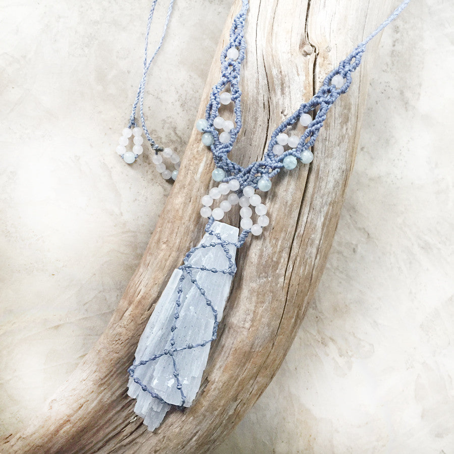 'Infinite Grace' ~ Angel wing blue Anhydrite crystal amulet with white Rose Quartz & Aquamarine