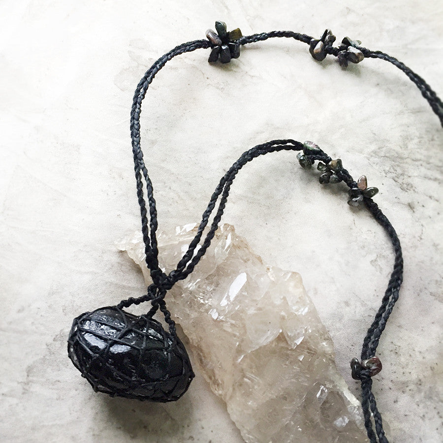 'Gentle Warrior' ~ Apache Tear stone talisman with Black Coral & Tourmaline
