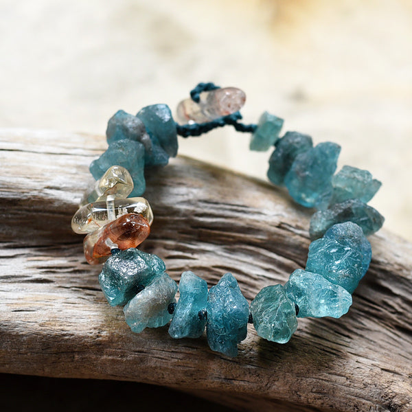 "Crystal healing bracelet with Apatite & Citrine ~ for 6"" wrist"