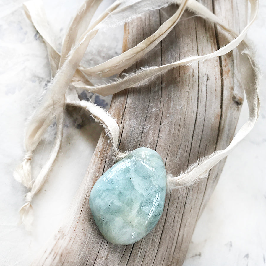 Talismanic Aquamarine crystal healing necklace with silk ribbon
