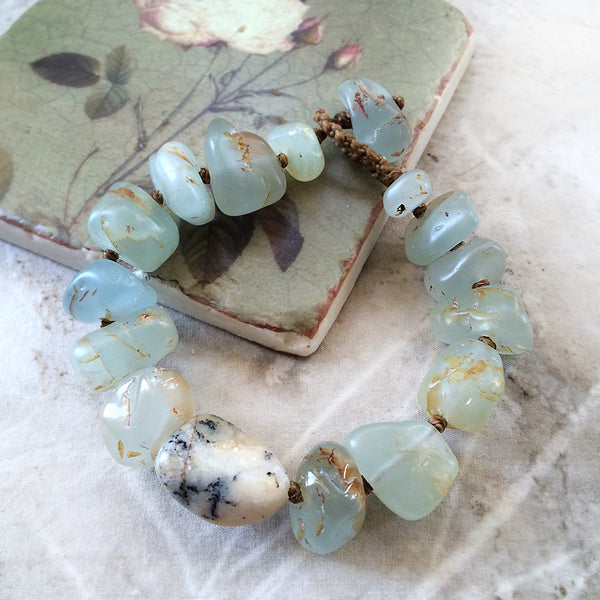 "Aquamarine crystal healing bracelet with Merlinite ~ for 7"" wrist"