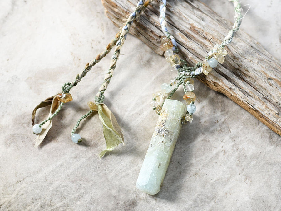 Aquamarine stone talisman with Gold Rutile Quartz in silk & cotton braid