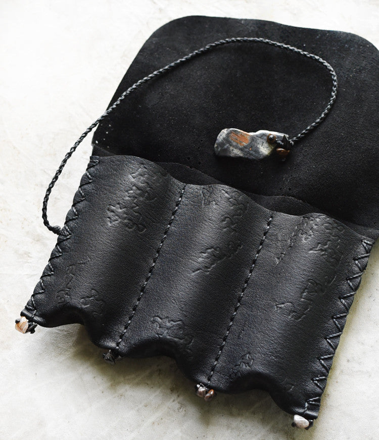 Tribal style leather roll for carrying essential oils, crystals etc ~ with Silver Leaf Jasper toggle
