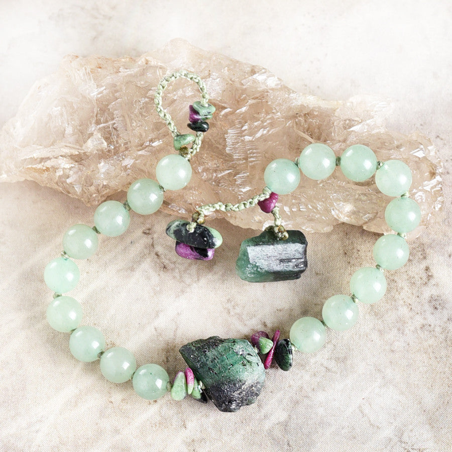 "Mala bracelet with Aventurine, Emerald & Ruby in Zoisite ~ for up to 7"" wrist"
