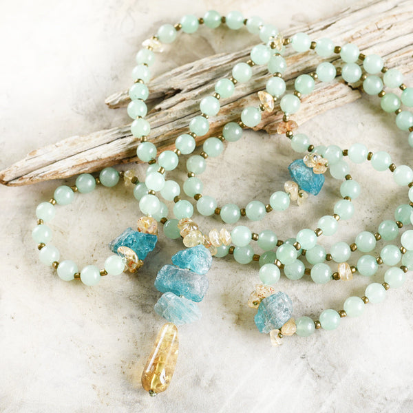 Green Aventurine mala with Apatite, Gold Rutile Quartz & Citrine