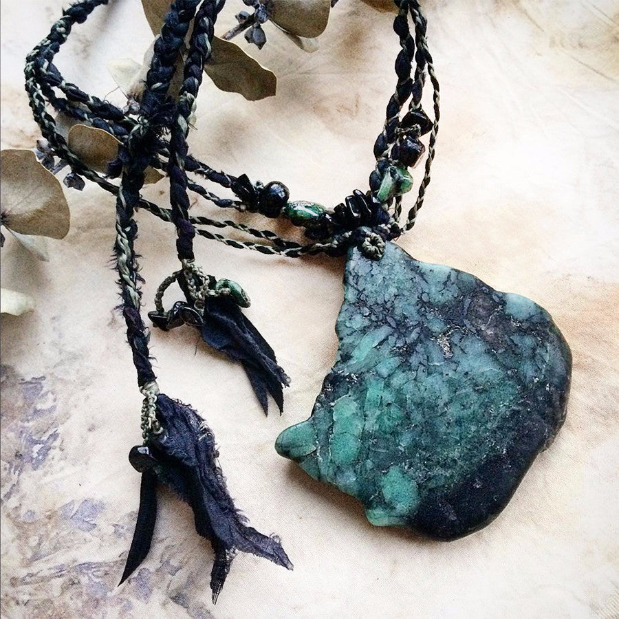 Stone talisman with Black Tourmaline included Emerald