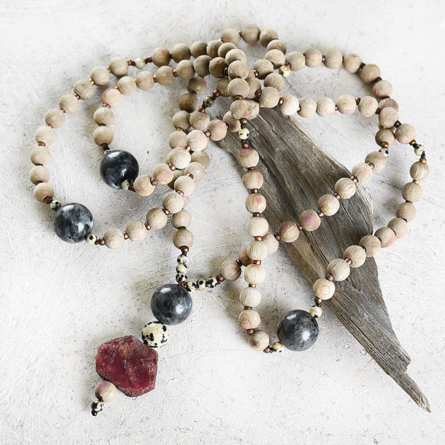 Mala with rough beech wood beads, Norwegian Moonstone, Dalmatian Jasper & raw Ruby