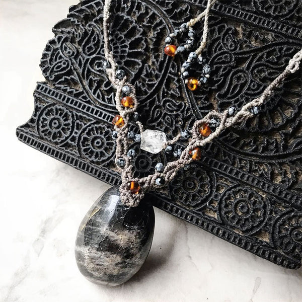 Black Moonstone crystal healing amulet
