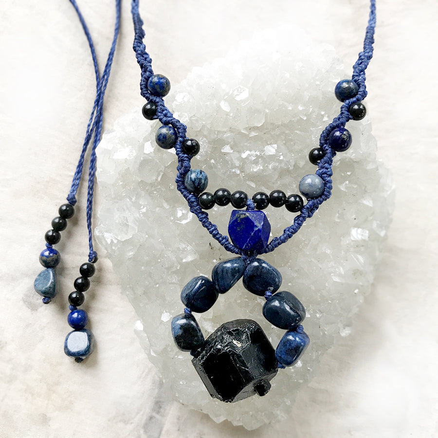 Crystal healing amulet with Black Tourmaline, Lapis Lazuli, Dumortierite & Golden Sheen Obsidian