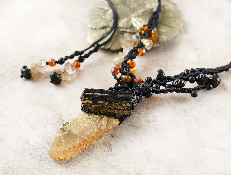 Crystal healing amulet with raw Golden Healer Quartz with Black Tourmaline